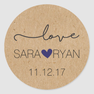 """Personalized, Rustic """"Love"""" Stickers"""