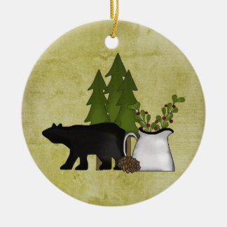 Personalized Rustic Mountain Country Bear Ceramic Ornament