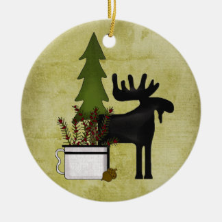 Personalized Rustic Mountain Country Moose Holiday Ceramic Ornament