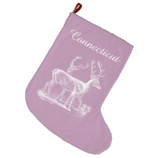 Personalized Rustic Opera Mauve Reindeer Christmas Large Christmas Stocking