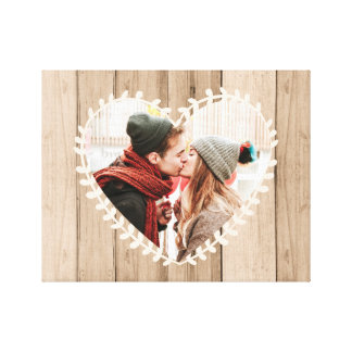 Personalized Rustic Photo Heart Canvas