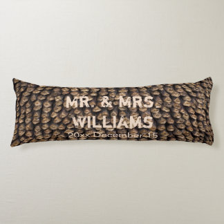 Personalized rustic pine cone body pillow