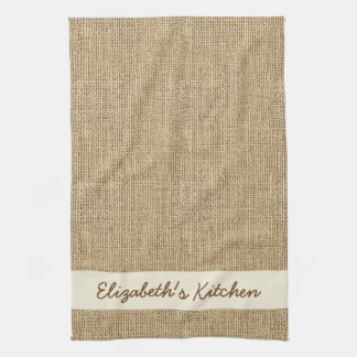 Personalized Rustic Simulated Burlap Kitchen Towel