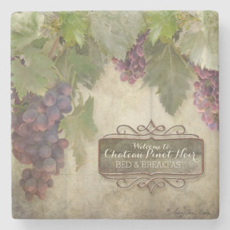 Personalized Rustic Vineyard Winery Fall Wine Sign Stone Coaster
