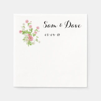 Personalized rustic wild flower wedding disposable napkins
