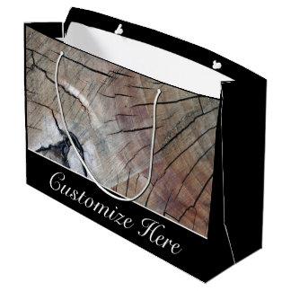 Personalized Rustic Wood Grain Design Gift Bag