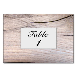 Personalized Rustic Wood Grain Design Table Card