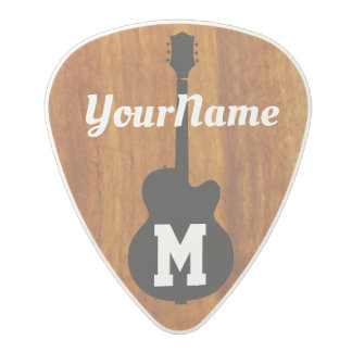 personalized rustic wood monogram polycarbonate guitar pick