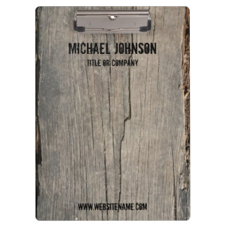 Personalized Rustic Wood Texture Business Clipboard