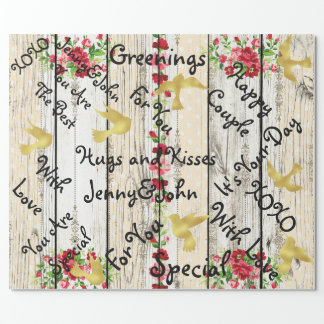 Personalized Rustic Wood Wedding Golden Birds Wrapping Paper