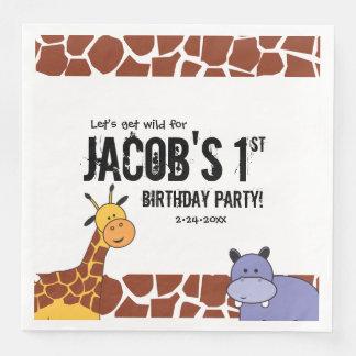 Personalized Safari 1st birthday, Jungle theme Paper Napkins