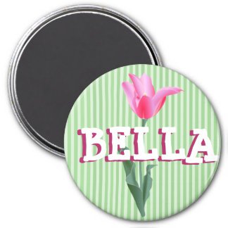 Personalized Sage Green & Pink Flower Name Magnet