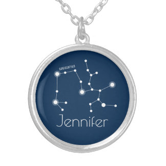 Personalized Sagittarius Zodiac Constellation Silver Plated Necklace
