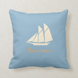 Personalized,Sail Boat,Blue Throw Pillow