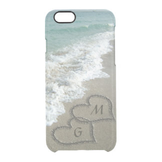 Personalized Sand Hearts on the Beach Clear iPhone 6/6S Case