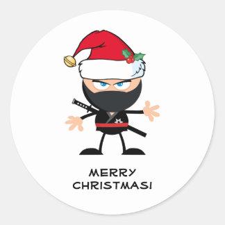 Personalized Santa Claus Ninja Warrior Classic Round Sticker