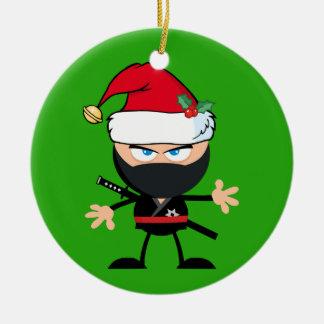Personalized Santa Clause Ninja Warrior Round Ceramic Ornament