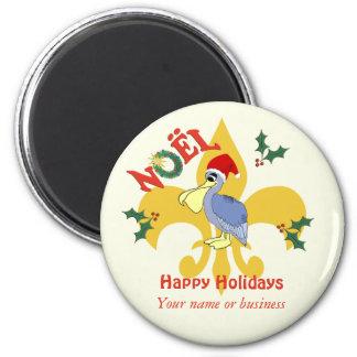 Personalized  Santa Pelican Fleur de Lis Fridge Magnet