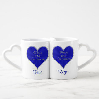 PERSONALIZED Sapphire Heart 45th Anniversary MUGS