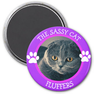 Personalized Sassy Cat Humorous Photo Button Magnet