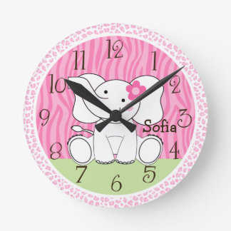 Personalized Sassy Jungle Elephant Nursery Clock