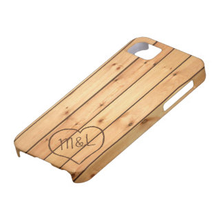 Personalized Sauna Wood Panels w/ Heart & Initials iPhone 5 Case