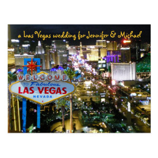 Personalized Save the Date Vegas Wedding Postcard
