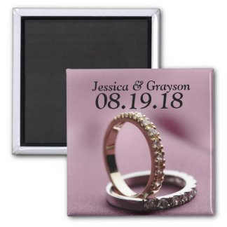 Personalized Save The Date Wedding Rings Magnet