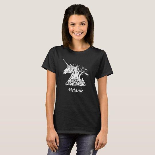 Personalized Scary Unicorn Skulls Bats Halloween T-Shirt