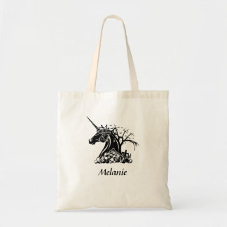 Personalized Scary Unicorn Skulls Bats Halloween Tote Bag