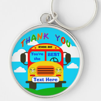Personalized School Bus Driver Gifts Cheerful Keyc Silver-Colored Round Keychain