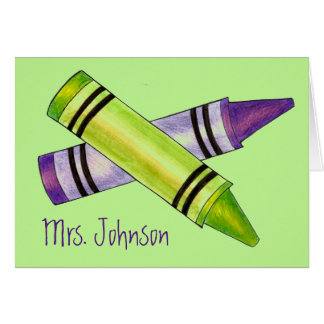 Personalized School Teacher Purple Green Crayon Card
