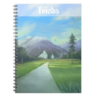 Personalized Sci Fi Nature Painting With Mountains Notebooks