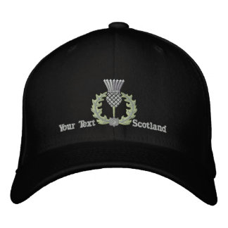 Personalized Scottish Thistle Scotland in silver Embroidered Hat