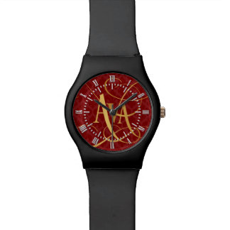Personalized Script Ava Gold on Red Fleur de Lys Watch