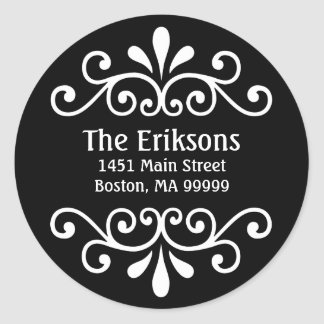 Personalized Scroll Address Labels in Black Round Sticker