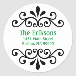 Personalized Scroll Address Labels in Green