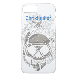 Personalized Scuba Diver Skull iPhone Case