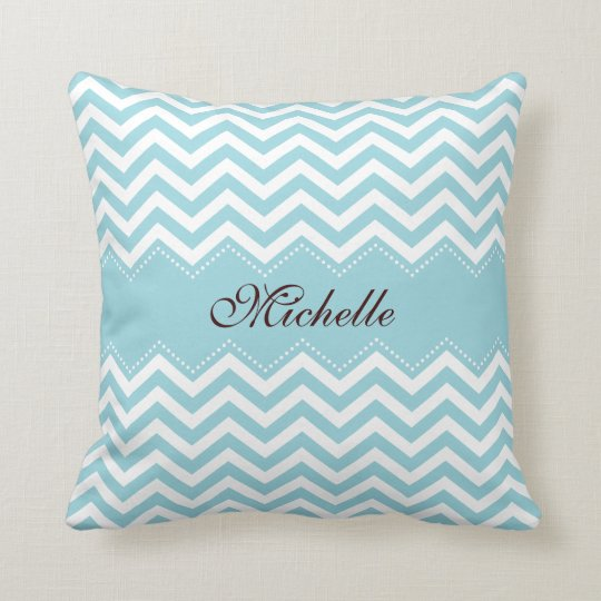 Personalized sea blue zigzag chevron pattern throw pillow