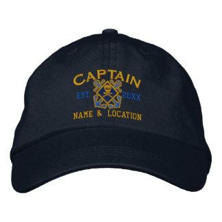Personalized Sea Captain Nautical Crossbones Skull Baseball Cap