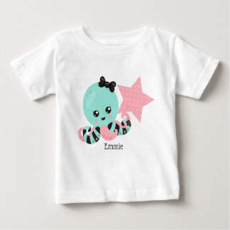 Personalized Sea Foam Green Octopus Pink Star Baby T-Shirt