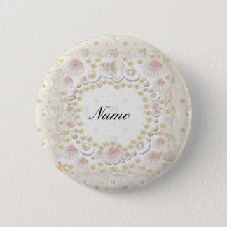 Personalized Seashells and Pearls 2 Inch Round Button