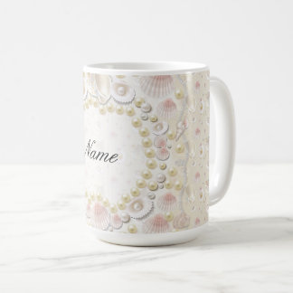 Personalized Seashells and Pearls Coffee Mug
