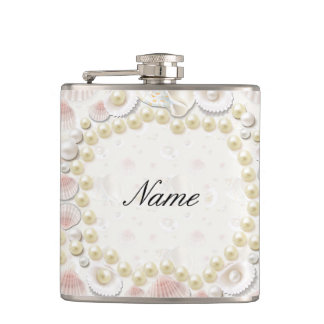 Personalized Seashells and Pearls Hip Flask