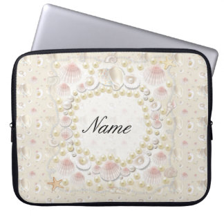 Personalized Seashells and Pearls Laptop Computer Sleeves