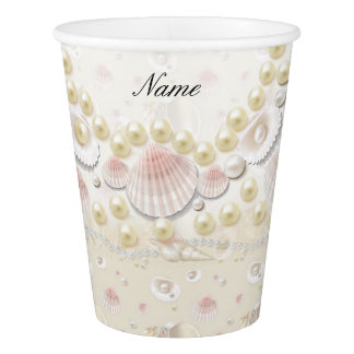 Personalized Seashells and Pearls Paper Cup
