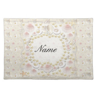 Personalized Seashells and Pearls Placemat