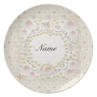 Personalized Seashells and Pearls Plate