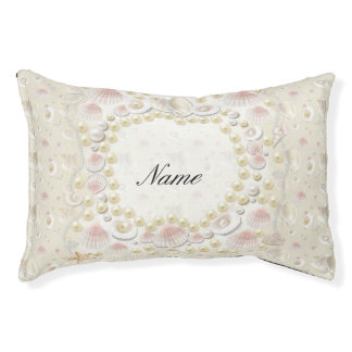Personalized Seashells and Pearls Small Dog Bed