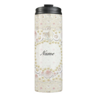 Personalized Seashells and Pearls Thermal Tumbler